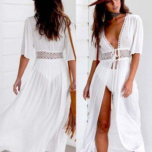 Boho Lace Cut Out Long Beach Cover Up NEW
